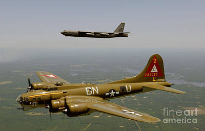 Usaf Painting - B17g And B52h In Flight by Celestial Images