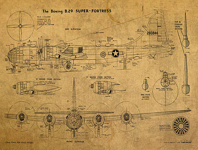 Airplane Mixed Media - B29 Superfortress Military Plane World War Two Schematic Patent Drawing On Worn Distressed Canvas by Design Turnpike