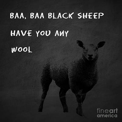 Gillian Digital Art - Baa Baa Black Sheep by Gillian Singleton