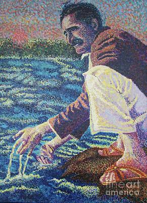 Baba Painting - Baba At The Narmada River by Kathleen Gray