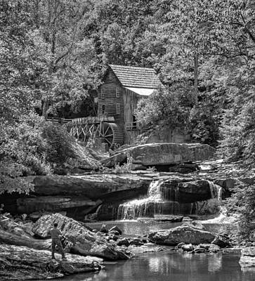 Grist Mill Photograph - Babcock State Park Wv 2 - Bw by Steve Harrington
