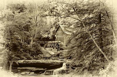 Grist Mill Digital Art - Babcock State Park Wv - Sepia by Steve Harrington