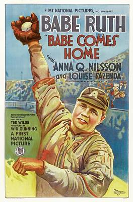 Babe Ruth Drawing - Babe Ruth Comes Home 1927 by Mountain Dreams