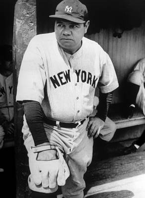 Baseball Uniform Photograph - Babe Ruth In The New York Yankees by Everett