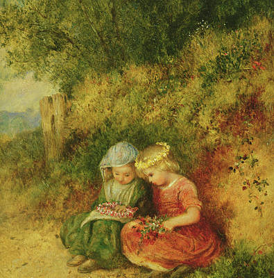 Flowers In Her Hair Painting - Babes In The Wood by John H Dell