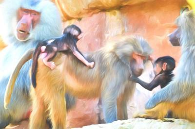 Ape Painting - Baboons by Sharon Lisa Clarke