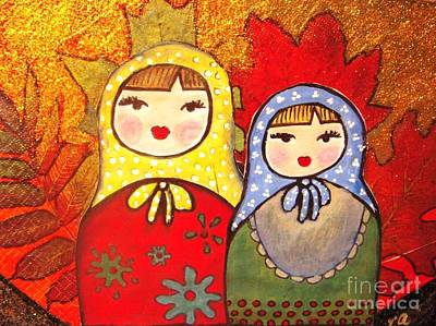 Babushka Painting - Babushka Sisters by Vesna Antic