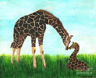 Mother And Baby Giraffe Painting - Baby And Mother Giraffe With Hidden Mickey by Ashley Baldwin