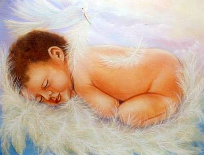 Children Painting - Baby Angel Feathers by Joni M McPherson
