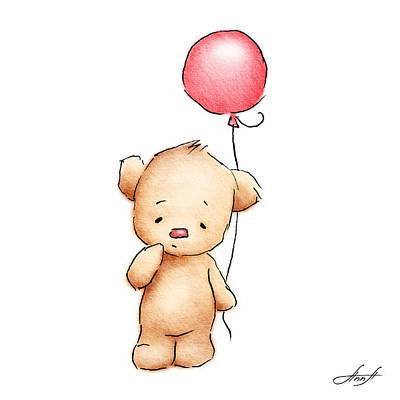 Babies Mixed Media - Teddy Bear With Red Balloon by Anna Abramska