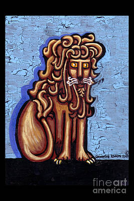 Byzantine Painting - Baby Blue Byzantine Lion by Genevieve Esson