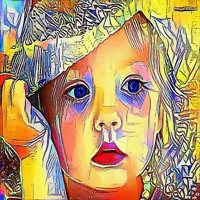 Baby Blue Eyes - My Www Vikinek-art.com Print by Viktor Lebeda
