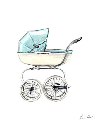 Pram Painting - Baby Carriage In Blue - Vintage Pram English by Laura Row