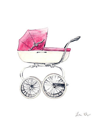 Pram Painting - Baby Carriage In Pink - Vintage Pram English by Laura Row