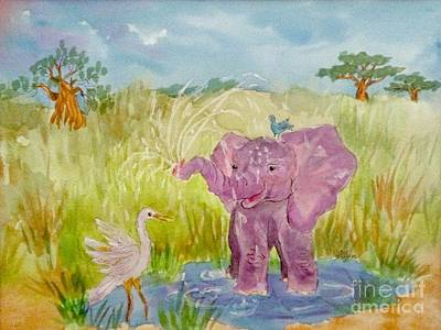 Baobab Painting - Baby Elephant And Friends by Ellen Levinson