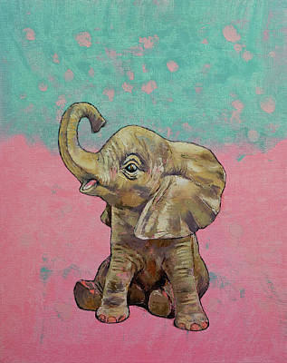 Baby Elephant Print by Michael Creese