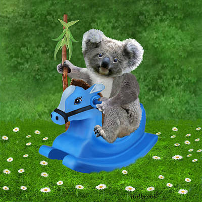 Koala Art Digital Art - Baby Koala Buckaroo by Glenn Holbrook
