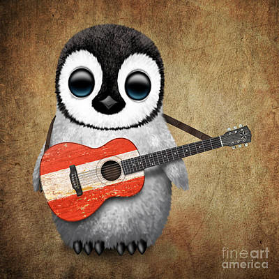 Baby Penguin Playing Austrian Flag Guitar Print by Jeff Bartels