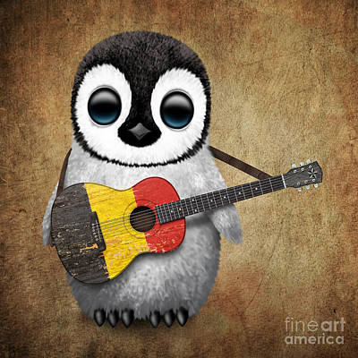 Acoustic Guitar Digital Art - Baby Penguin Playing Belgian Flag Guitar by Jeff Bartels