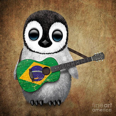 Acoustic Guitar Digital Art - Baby Penguin Playing Brazilian Flag Guitar by Jeff Bartels