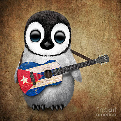 Acoustic Guitar Digital Art - Baby Penguin Playing Cuban Flag Guitar by Jeff Bartels
