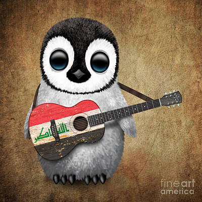 Adorable Digital Art - Baby Penguin Playing Iraqi Flag Guitar by Jeff Bartels