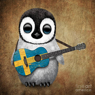 Sweden Digital Art - Baby Penguin Playing Swedish Flag Guitar by Jeff Bartels