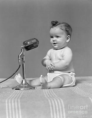 Baby With Microphone, C.1940s Print by H. Armstrong Roberts/ClassicStock