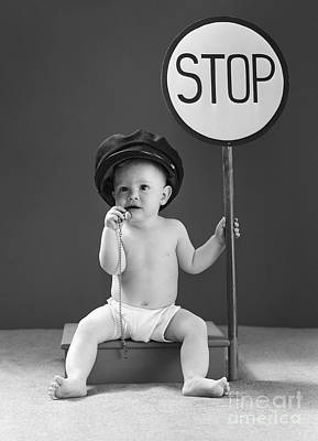 Stop Sign Photograph - Baby With Stop Sign, 1940s by H. Armstrong Roberts/ClassicStock