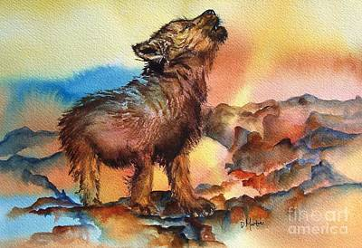 Baby Wolf Print by Donna Martin