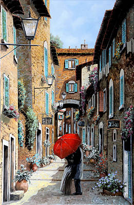 Old Village Painting - Baci Nel Vicolo by Guido Borelli