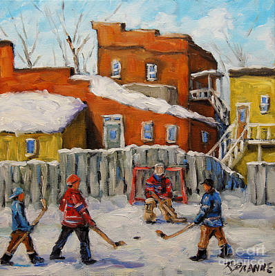 Canadian Sports Painting - Back Lane Hockey Created By Prankearts by Richard T Pranke