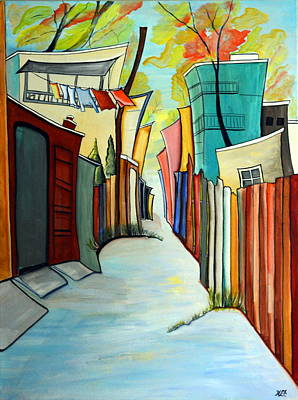 Laundry Painting - Back Yards by Heather Lovat-Fraser