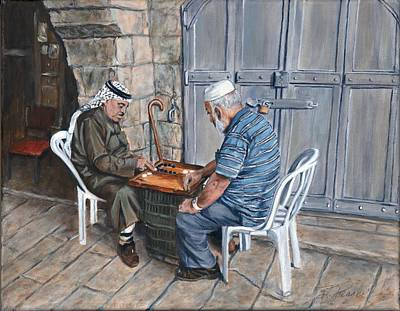 Mideast Painting - Backgammon Players In Jerusalem by Bonnie Peacher