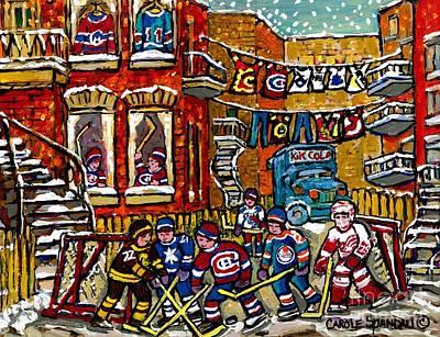 Backlane Winter In The City Original Six Hockey Art Verdun Montreal Snowy Alley Laneway Canadian Art Original by Carole Spandau