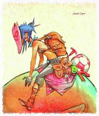 Tattoo Painting - Backpacker Girl by Leonardo Digenio