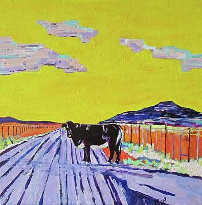 Steer Painting - Backroads Abiquiu, New Mexico by Brenda Pressnall