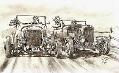 Hot Rod Drawing - Backwoods Duel 2 by Ruben Duran
