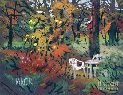 Lawn Chairs Painting - Backyard In Autumn by Donald Maier