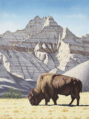 Badland Bison Original by Joseph Kemeny