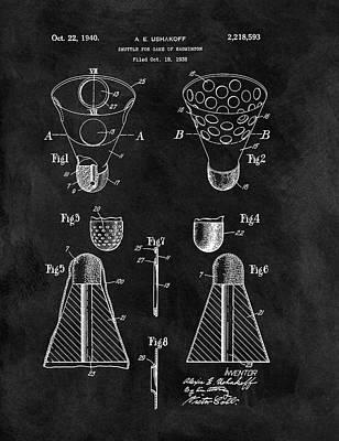 Badminton Shuttle Patent Print by Dan Sproul