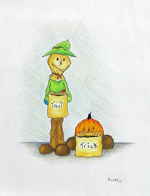 Holloween Drawing - Baggs And Boo Treat Or Trick by Michael  TMAD Finney