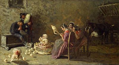 Giovanni Segantini Painting - Bagpipers Of Brianza by Giovanni Segantini