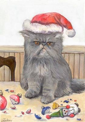 Cat Cartoon Painting - Bah Humbug by Donna Tucker