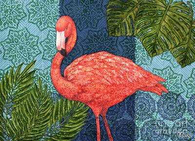Flamingos Painting - Bahama Flamingo - Horizontal by Paul Brent