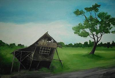 Bamboo House Painting - Bahay Kubo by Robert Cunningham