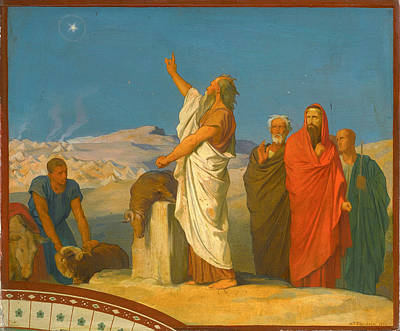 Balaam Painting - Balaam's Prophecy Of Christ As Star And Sceptre by Jean-Hippolyte Flandrin