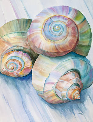 Seashell Painting - Balance In Spirals Watercolor Painting by Michelle Wiarda