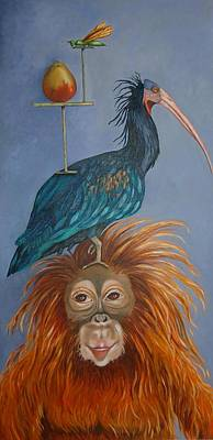 Orangutan Painting - Balancing Act by Leah Saulnier The Painting Maniac