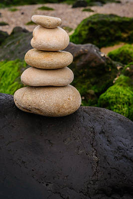 Balancing Zen Stones By The Sea V Print by Marco Oliveira